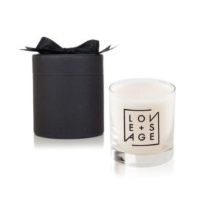 Clear Glass 11 Oz Candle in Black Round Gift Box