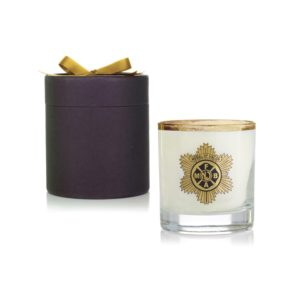 Clear Glass 11 Oz Candle in Black Round Gift Box with Gold Ribbon