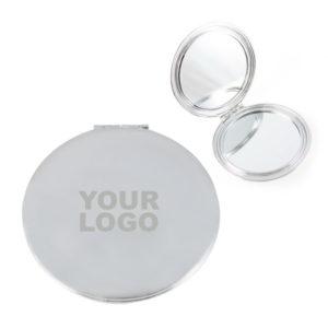 Laser Engraved Silver Compact Mirror Case