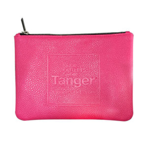 Trish Textured Leatherette Flat Zippered Pouch