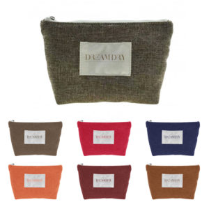 Brittany Burlap Jute Trapezoid Gusseted Zippered Cosmetic Case