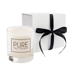 Clear Glass 11 Oz Candle in White or Black Gift Box