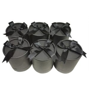 Black Round Gift Box with Satin Bow Ribbon