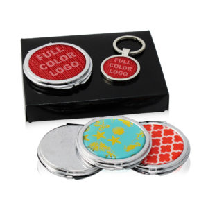 Ladies Mirror Compact and Keychain Gift Set in Box