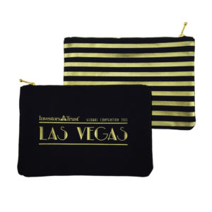 Calista Black & Gold Canvas Zippered Pouch in Stripes
