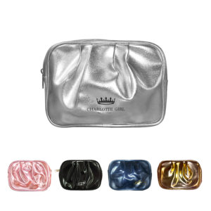 Pleated Cosmetic Bag in Gold, Silver or Metallic